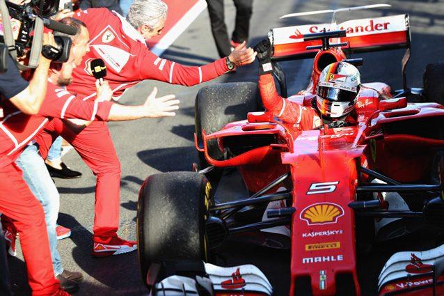 Sebastian Vettel e Maurizio Arrivabene – Getty Images