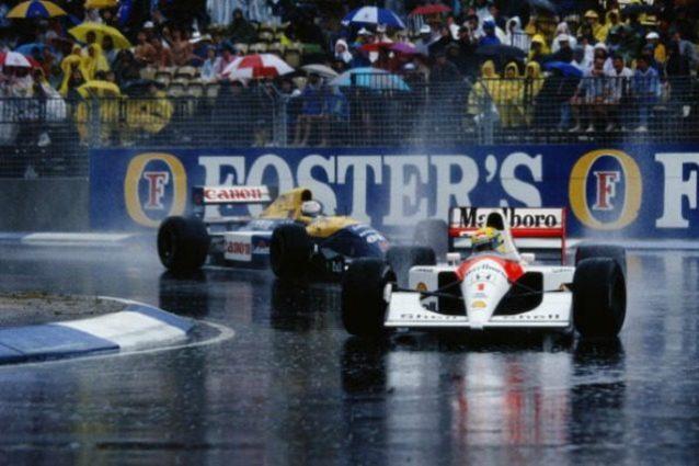 Senna e Mansell sotto la pioggia 1991