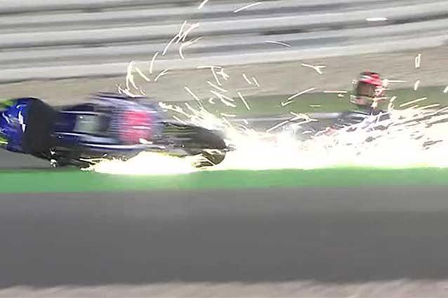La caduta di Maverick Vinales in curva 4 / MotoGp.com
