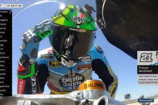 Franco Morbidelli festeggia la vittoria del Gp delle Americhe / MotoGp.com