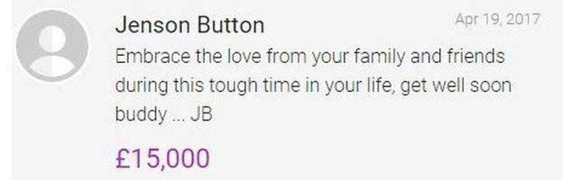 La donazione di Jenson Button / JustGiving.com