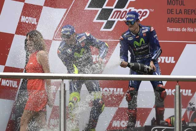 Valentino Rossi e Maverick Vinales sul podio del Gp d'Argentina / GettyImages