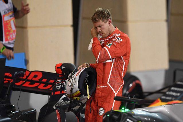 Sebastian Vettel deluso dopo il 3° posto nelle qualifiche del Bahrain – Getty Images