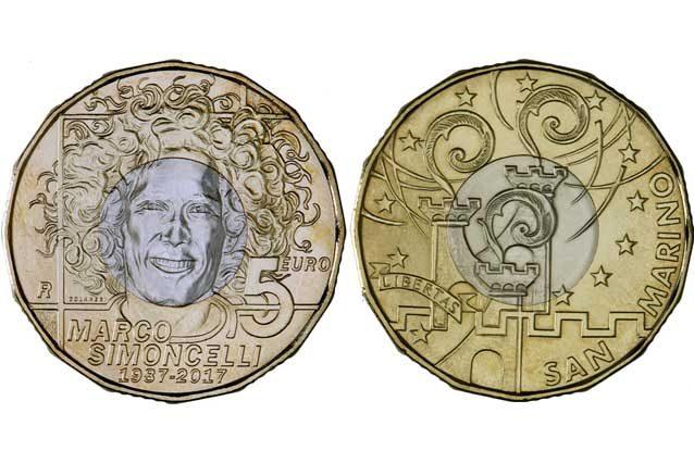 Fronte e retro della moneta dedicata a Marco Simoncelli / Ufficio Numismatico e Filatelico di San Marino