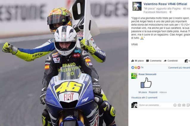 """MotoGP   addio Nieto, Valentino Rossi: """"Ciao Angel, grazie di tutto"""""""