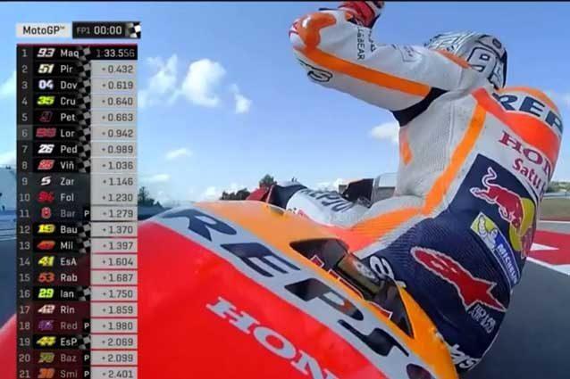 MotoGP Misano, Marquez mette subito le cose in chiaro. 3° Dovizioso