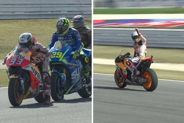 Iannone tocca Marquez (A) e lo spagnolo lo manda a quel paese (B)