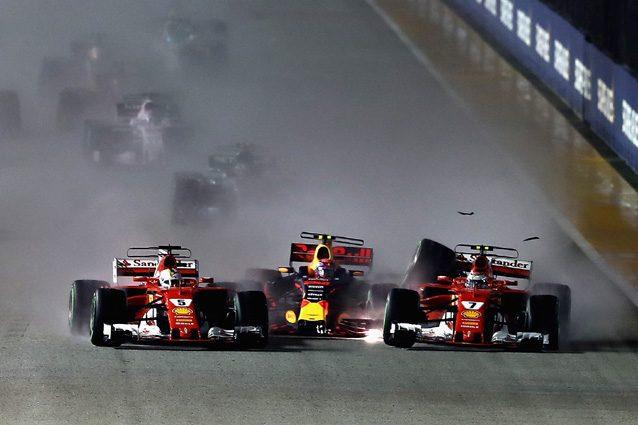 Contatto Verstappen-Ferrari a Singapore, nessuna penalità per i piloti coinvolti