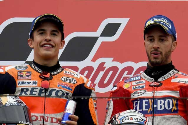 Marc Marquez e Andrea Dovizioso sul podio di Motegi / Getty Images
