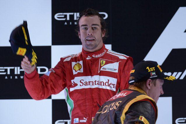 Alonso festeggia il 2° posto ad Abu Dhabi nel 2012 – Getty images