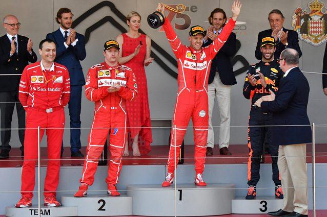 I due piloti della Ferrari sul podio del GP di Monaco – Getty images