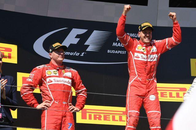 Vettel e Raikkonen festeggiano la doppietta in Ungheria – Getty images