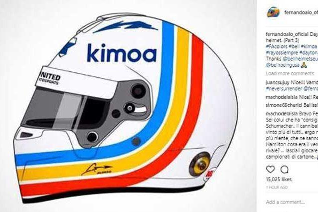 Il casco di Fernando Alonso per la 24 Ore di Daytona / Instagram