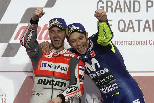 Dovizioso e Rossi sul podio del Qatar / Getty Images