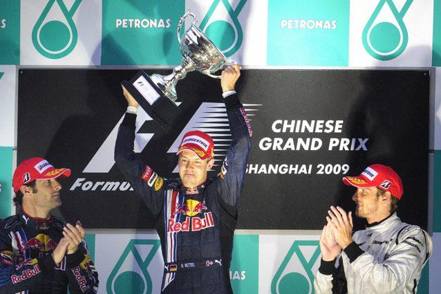 Vettel festeggia la prima vittoria Red Bull in F1 – Getty images