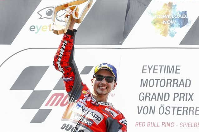 Jorge Lorenzo sul gradino più alto del podio del Red Bull Ring / Getty Images