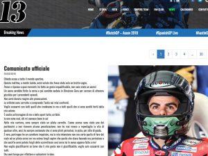 """Romano Fenati, bandiera nera in Moto 2: """"Non sono stato un uomo, chiedo scusa a tutti"""""""