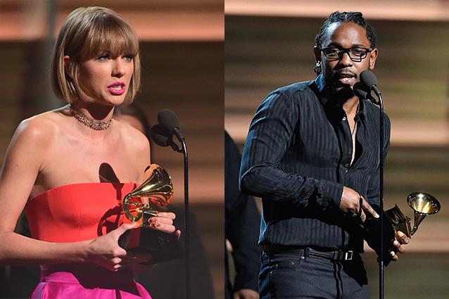 Taylor Swift e Kendrick Lamar ai Grammy Awards 2016 (Foto Getty)