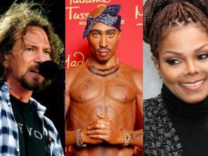 Da sinistra: Eddie Vedder dei Pearl Jam, Tupac Shakur e Janet Jackson