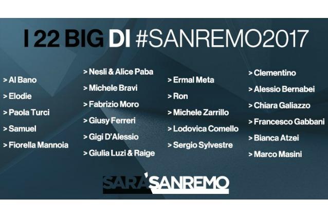 I 22 Big del Festival di Sanremo 2017