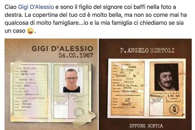 """Bertoli a D'Alessio: """"La copertina del tuo cd simile a quella dell'album di mio padre"""""""