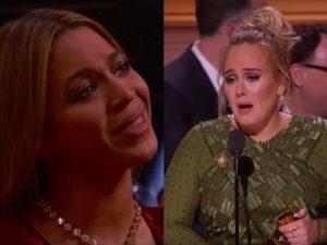 """Grammy 2017, Adele: """"Non dovrei accettare questo Premio"""" e fa piangere Beyoncé"""