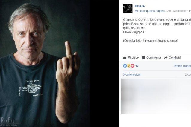 È morto Giancarlo Coretti: fu fondatore, chitarra e voce dei Bisca