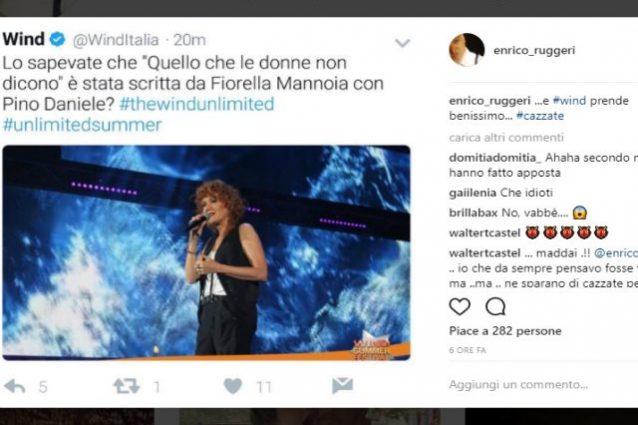 "Enrico Ruggeri rimprovera Wind per la gaffe sui social: ""Ca**ate"""