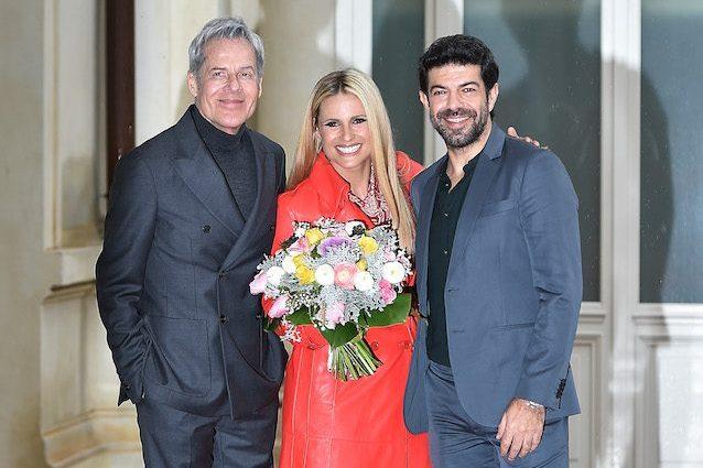 Claudio Baglioni, Michelle Hunziker, Pierfrancesco Favino (LaPresse)