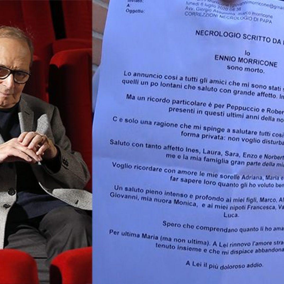 Ennio Morricone ha scritto il suo necrologio: Sono morto, a Maria ...