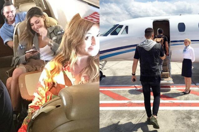 Jet Privato Berlusconi : Belén rodriguez vola a ibiza con tutta la famiglia bordo