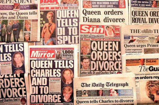 """I tabloid dell'epoca: """"La Regina ordina a Carlo di divorziare da Diana"""""""