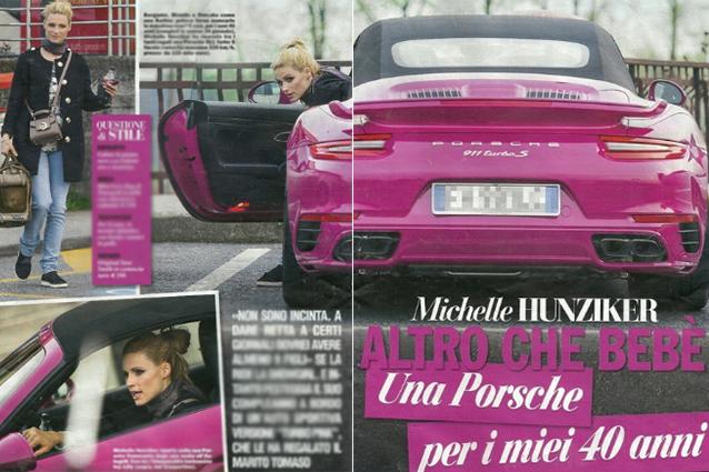 Una Porsche 911 rosa per i 40 anni di Michelle Hunziker, altro che bebè in arrivo