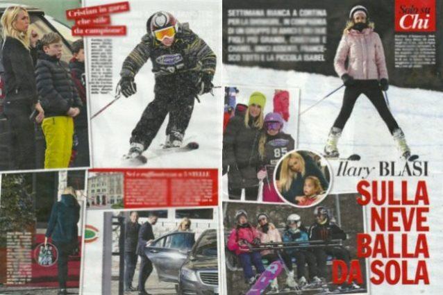 Ilary Blasi in vacanza sulla neve coi figli, papà Totti resta a casa con la piccola Isabel