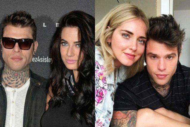 Coppie a confronto: a sinistra Fedez con l'ex Giulia Valentina, a destra con Chiara Ferragni