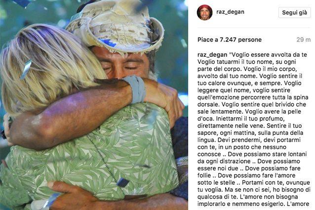 """Raz Degan scrive a Paola Barale: """"L'amore non bisogna esigerlo, va lasciato libero e ti trascinerà"""""""