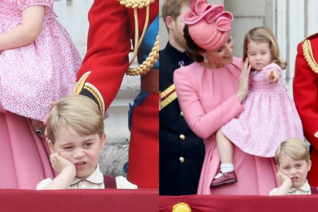 """Le smorfie irresistibili di baby George, dal balcone guarda annoiato i suoi """"povery"""""""