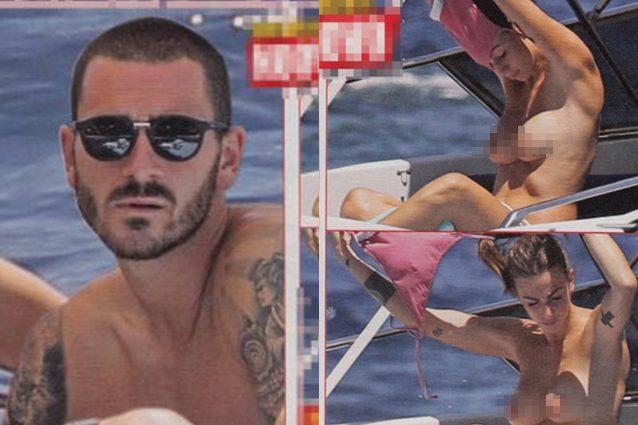 Il topless di Martina Maccari infiamma l'estate italiana, Leo Bonucci sta a guardare