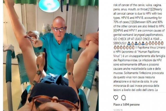 "Naike Rivelli a gambe aperte dal ginecologo: ""Fate il test del papilloma virus"""