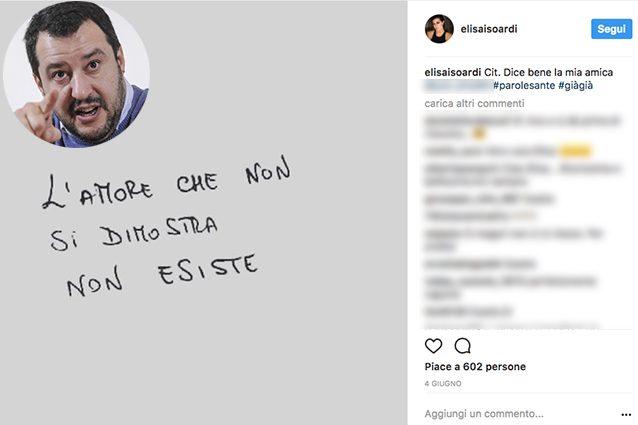"""""""L'amore che non si dimostra, non esiste"""", la frase della Isoardi e la foto con Salvini cancellata"""
