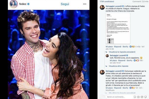 """Fedez rimuove la foto con Levante, Lucarelli: """"La Ferragni è gelosa"""" e il rapper le chiede di smentire"""