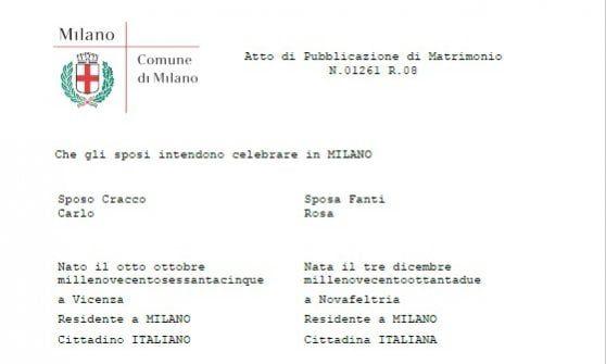 Lo chef Carlo Cracco sposa Rosa, le pubblicazioni in Comune