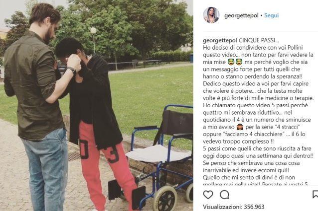 Georgette Polizzi e il video toccante su Instagram: non mollate mai