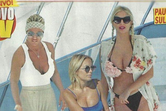 Francesca Pascale, Francesca Cipriani ed Elena Morali in barca in Sardegna