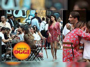 Belén Rodriguez al bar con Andrea Iannone, al tavolo c'è Gilda Ambrosio ma non Stefano De Martino