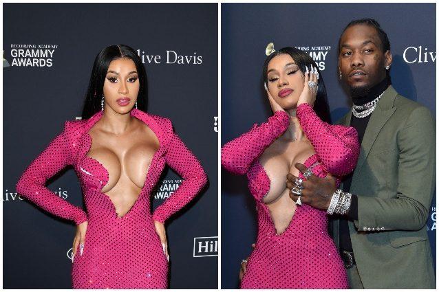 Fuori di seno per Cardi B ai Grammy    il marito Offset la soccorre con una mano