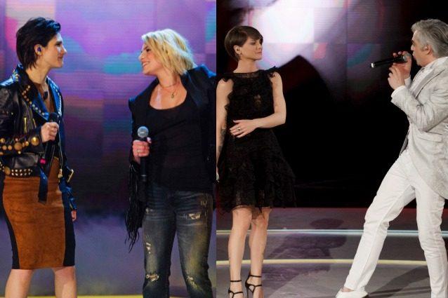 Morgan ed Alessandra Amoroso battono Emma ed Elisa, il primo punto va ai bianchi