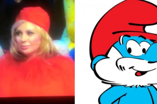 Tina e Platinette, due signore in rosso ma la Cipollari sembra Grande Puffo