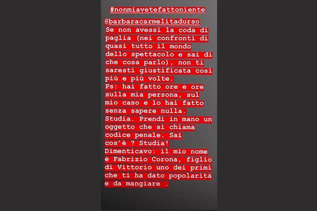 Barbara D'Urso asfalta Fabrizio Corona in diretta: ecco perché