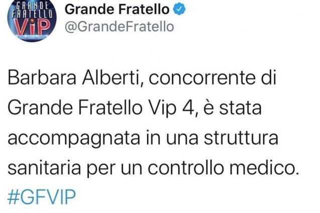 """Grande Fratello Vip annuncia: """"Barbara Alberti in ospedale"""""""
